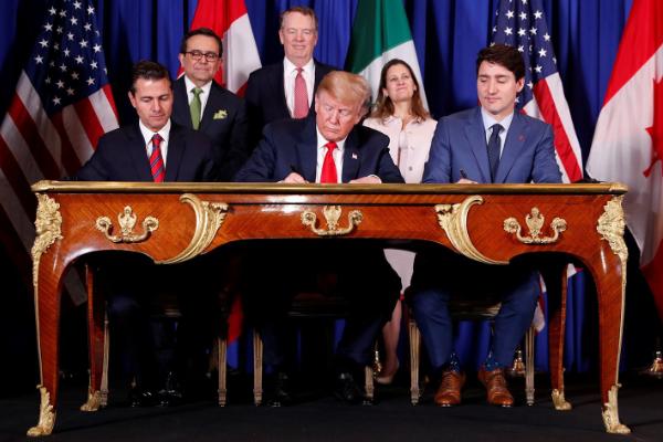 Estados Unidos, México y Canadá firman el T-MEC en Buenos Aires.
